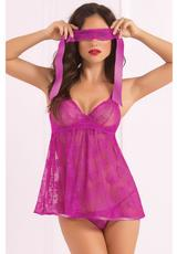 BABYDOLL PANTY & EYE MASK SET-ORCHID-OS