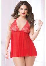 TWO PIECE BABYDOLL AND THONG SET-RED-Q