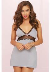 TWO PIECE CHEMISE SET-GREY-MEDIUM (DISC)