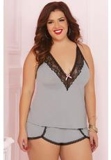 TWO PIECE CAMI SET-GREY-1X/2X