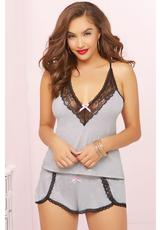 TWO PIECE CAMI SET-GREY-LARGE