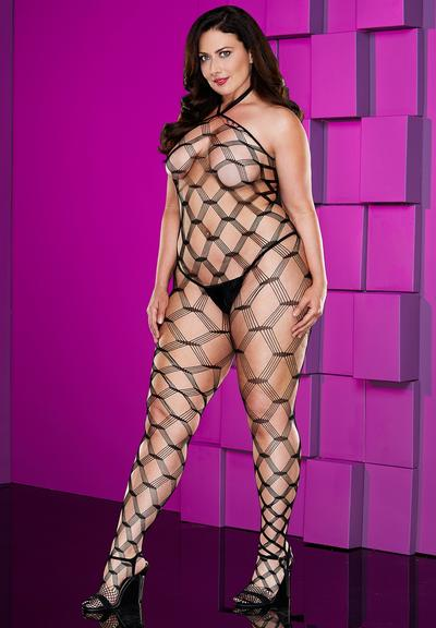 DIAMOND NETCROTCHLESS BODYSTOCKING-QUEEN Medium Front