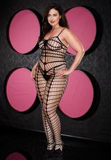 SMOKIN HOT SEAMLESS BODYSTOCKING-BLACK-Q Medium Front