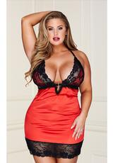 RED 2 PC LACE CHEMISE G-STRING-M/L