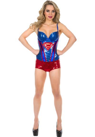SUPERMAN SEQUIN CORSET - MEDIUM Medium Front