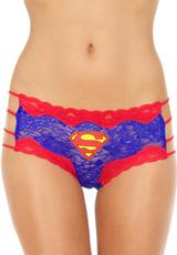 SUPERMAN LACE STRING HIPSTER PANTY-LARGE