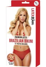 PREMIUM LATEX BRAZILIAN BIKINI-RED-M/L
