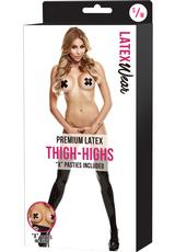 PREM LATEX THIGH-HIGHS W/X PASTIES-BK-SM