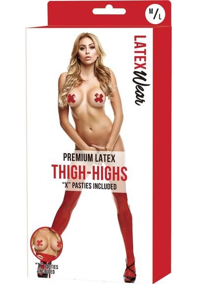 PREM LATEX THIGH-HIGHS W/X PASTIES-RD-ML Medium Front