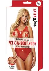 PREM LATEX PEEK TEDDY W/X PASTIES-RD-S/M