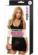 PREMIUM LATEX MINI DRESS-BLACK-MD/LG