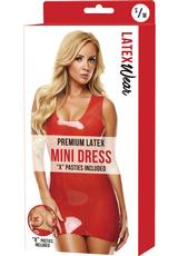 PREMIUM LATEX MINI DRESS-RED-SM/MD