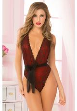TWO PIECE TEDDY SET-RED-O/S