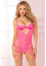 TWO PIECE CHEMISE SET-PINK-O/S