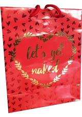 LETS GET NAKED GOLD FOIL GIFT BAG