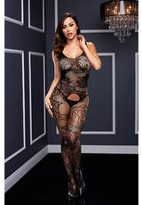 CROTCHLESS JACQUARD BODYSTOCKING-BLK-O/S