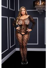 LONGSLEEVE CROTCHLESS BODYSTOCKING-BLK-Q