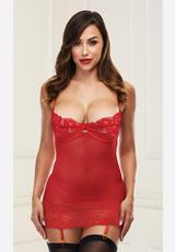 OPEN CUP CHEMISE WITH GARTERS-RED-ML