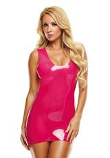 PREMIUM LATEX MINI DRESS-PINK-SM/MD
