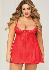 BOW OVER BABYDOLL & PANTY SET-RED-QUEEN
