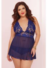 TWO PIECE BABYDOLL SET-NAVY-1X/2X