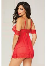 TWO PIECE BABYDOLL SET-RED-SMALL (DISC) Medium Back