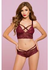ROSE GALLOON LACE BRALETTE-WINE-MEDIUM Medium Front