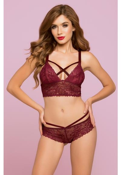 ROSE GALLOON LACE BRALETTE-WINE-LARGE Medium Front