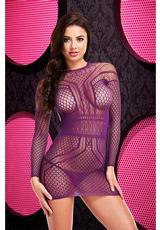 LONG SLEEVE OPEN BACK MINI DRESS-PURPLE Medium Front