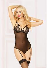 TWO PIECE TEDDY SET W/HOSIERY
