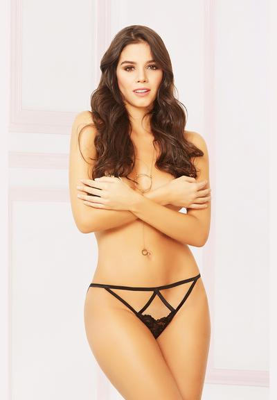 FLORAL LACE THONG - BLACK - O/S Medium Front