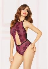 LACE TEDDY -WINE - O/S