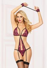 THREE PIECE TEDDY SET - WINE - O/S