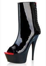 BLACK & RED PLATFORM WITH CORSET DETAIL Medium Front
