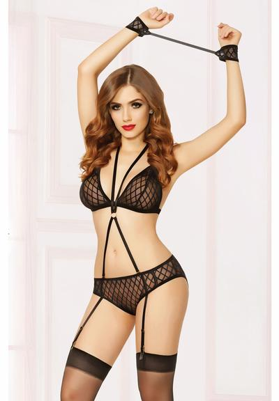 THREE PIECE BRA SET - O/S - W/HOSIERY Medium Front