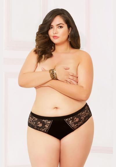 VELVET AND LACE CHEEKY PANTY-3X/4X Medium Front