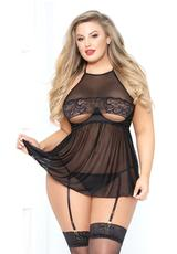 OH LA SEXY BABYDOLL SET - BLACK - QUEEN