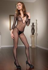 LONG SLEEVE BODYSTOCKING - BLACK - O/S