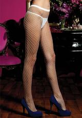 DIAMOND FISHNET PANTYHOSE - WHITE - O/S