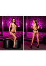 CROTCHLESS FENCENET BODYSTOCKING-BLACK Medium Back