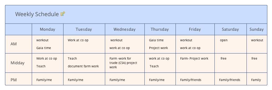 Weekly Schedule 2