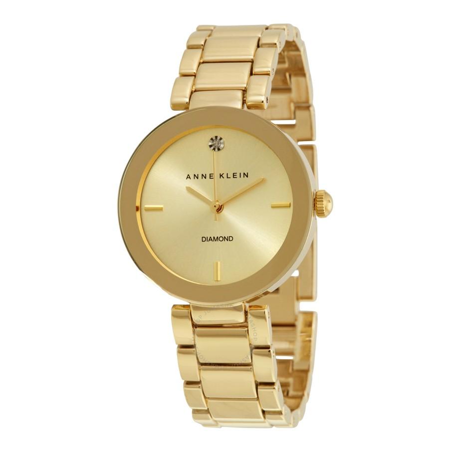 Anne-Klein-Womens-AK1362CHGB-Diamond-Dial-Gold-Tone-Bracelet-Watch