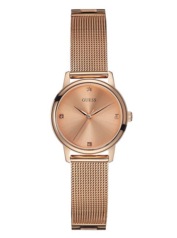 GUESS-Womens-Stainless-Steel-Diamond-Dial-Mesh-Bracelet-Watch,-Color:-Rose-Gold-Tone-(Model:-U0532L3)
