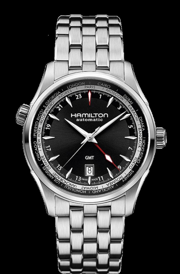 Hamilton Jazzmaster H32695131 GMT Black Dial Mens Watch