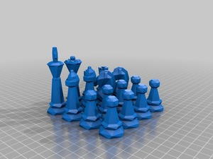 Chess set low poly