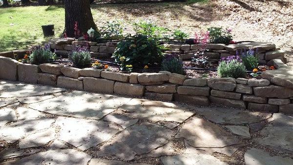 Native stone raised bed