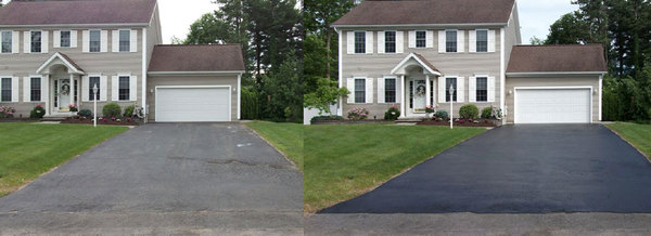 Driveway sealcoating before after mertztown