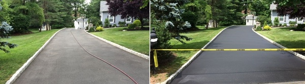 Driveway sealcoating before after oley