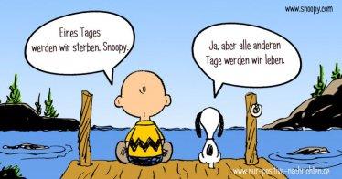 Eines Tages werden wir sterben, Snoopy. Spruch | Zitat / Quelle: www.snoopy.com