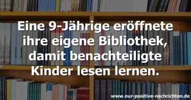 Eine 9-Jährige hat ihre eigene Bibliothek eröffnet